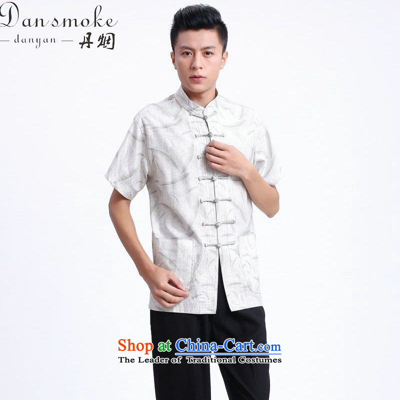 Dan smoke summer New Men Tang dynasty national men's Chinese clothing improved linen collar Short-Sleeve Men Tang 3XL - 2