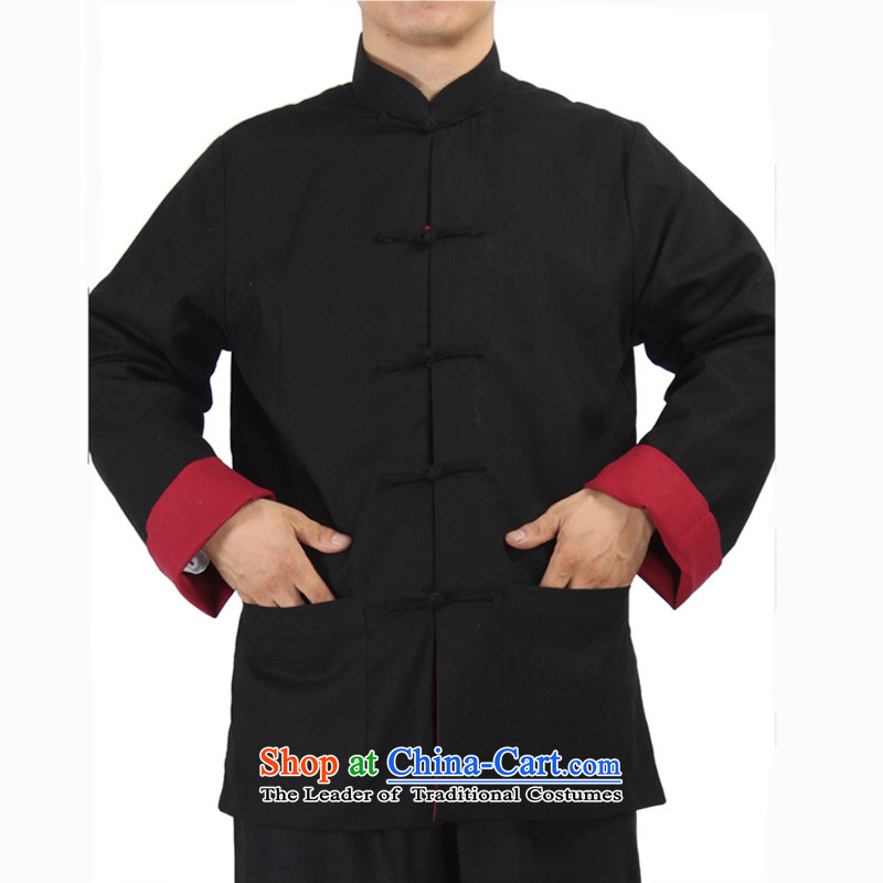 The elderly in Mephidross beibei economy cotton linen clothes to wear long-sleeved load dad duplex Tang dynasty autumn and winter men's jackets black and red聽XL