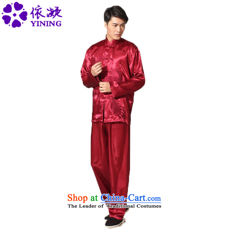 In accordance with the new fuser men pure color embroidered dragon shirt + Leisure pants retro sheikhs wind Tang Dynasty Package聽LGD_M0013_聽Magenta聽XL