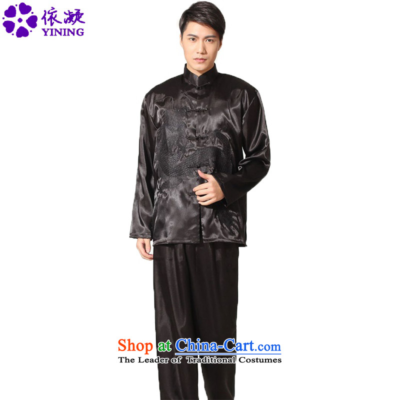 In accordance with the fuser spring and summer New Men's Mock-Neck embroidered dragon sheikhs wind Tang Dynasty Package Sanshou聽LGD_M0014_ services聽black聽L