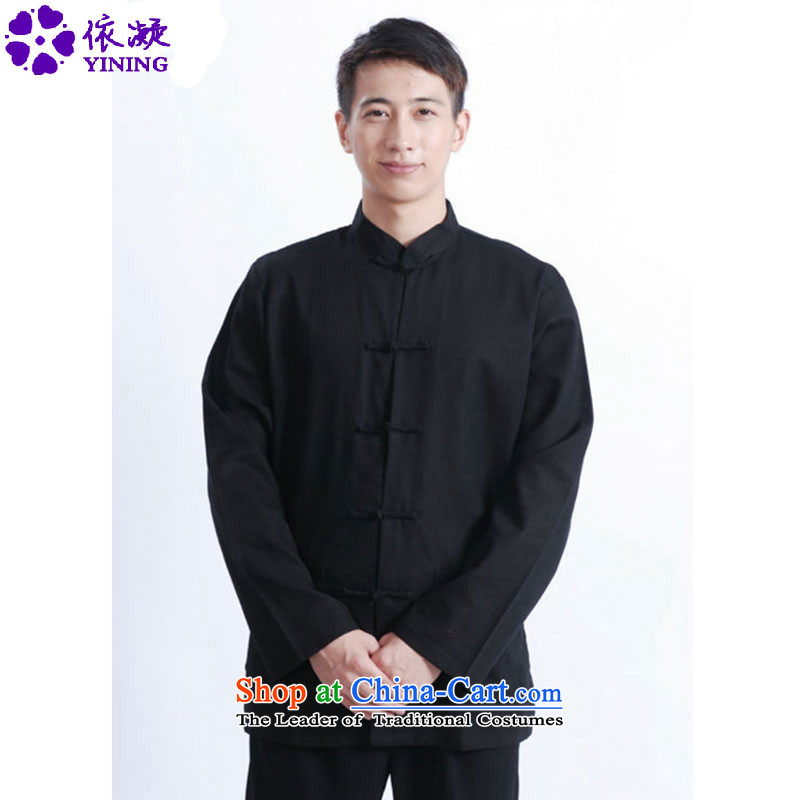In accordance with the new spring and autumn gel men Tang blouses and stylish collar single row detained pure color Tang dynasty long-sleeved top coat LGD/J1083# black�2XL