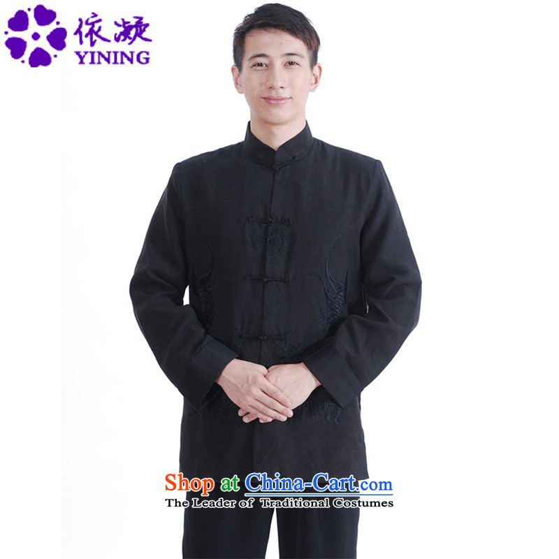 In accordance with the new stylish spring and autumn gel Men's Mock-Neck qipao Tang dynasty Classic tray clip embroidery father replacing Tang jackets?LGD_M1149_?black?L