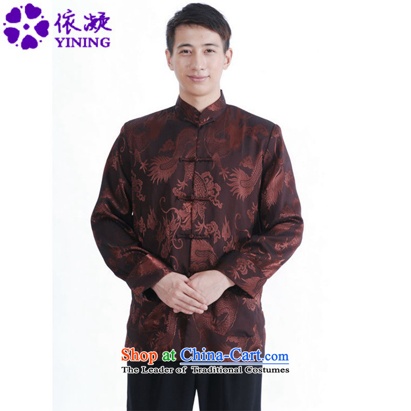In accordance with the Fuser Spring New men of nostalgia for the Tang dynasty China wind qipao gown direct collar Double Pocketed Dad On replacing Tang's jacket?LGD/M1143#?figure?L