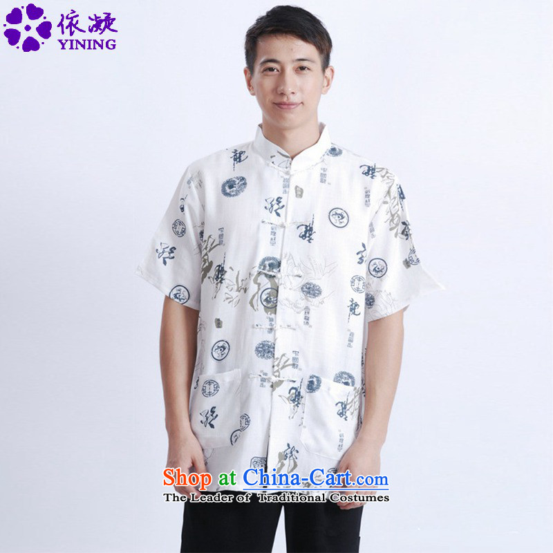 In accordance with the fuser for summer new retro ethnic Tang Dynasty Short-Sleeve Mock-Neck straight cut short-sleeved load dad suit Tang blouses聽LGD_M0005_聽figure聽M