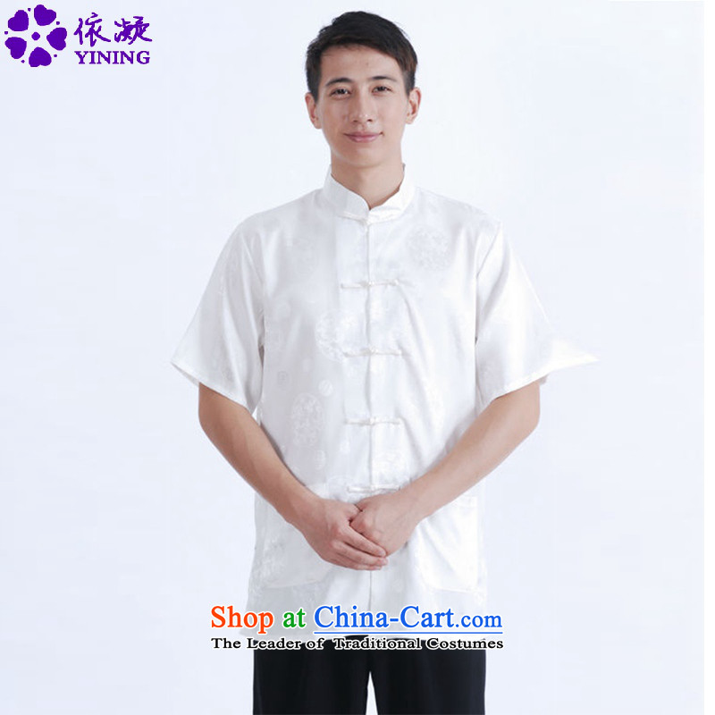 In accordance with the fuser for summer new stylish ethnic Tang Dynasty Short-Sleeve Mock-Neck Classic tray clip Tang dynasty load father short-sleeved T-shirt聽LGD_M0015_聽figure聽M