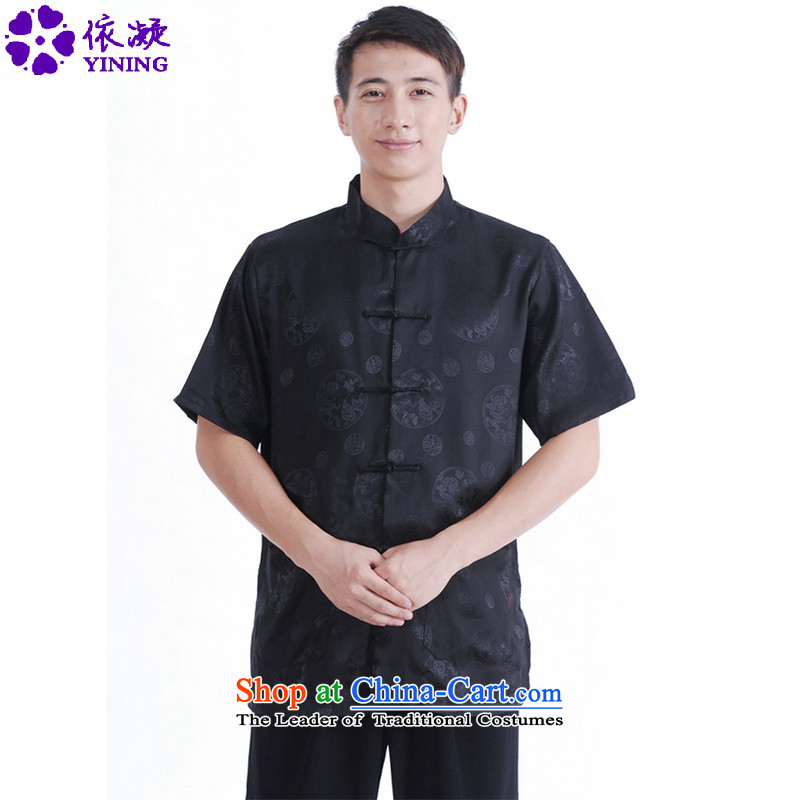 In accordance with the fuser for summer new classic ethnic Tang Gown cheongsam collar single row detained father replacing Tang dynasty short-sleeved T-shirt聽LGD_M0016_聽black聽M