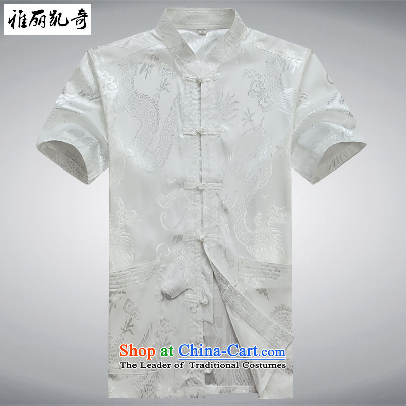 Alice Keci?2015 Summer new elderly father replacing Tang dynasty short-sleeved packaged in Tang Dynasty older men and short-sleeved larger men Tang Dynasty Package White?XXL Kit