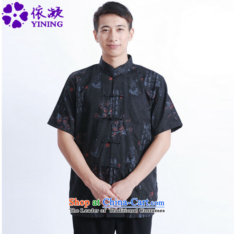 In accordance with the fuser for summer stylish new men Chinese Daily Tang dynasty qipao text stamp father load flower short-sleeved blouses?Lgd_m0022_ Tang?Black?M