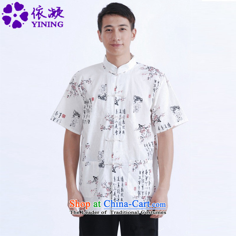 In accordance with the fuser for summer stylish new men retro ethnic short-sleeved Tang dynasty Mock-neck leisure father terminal with tang blouses shirt?Lgd/m0024?figure?XL