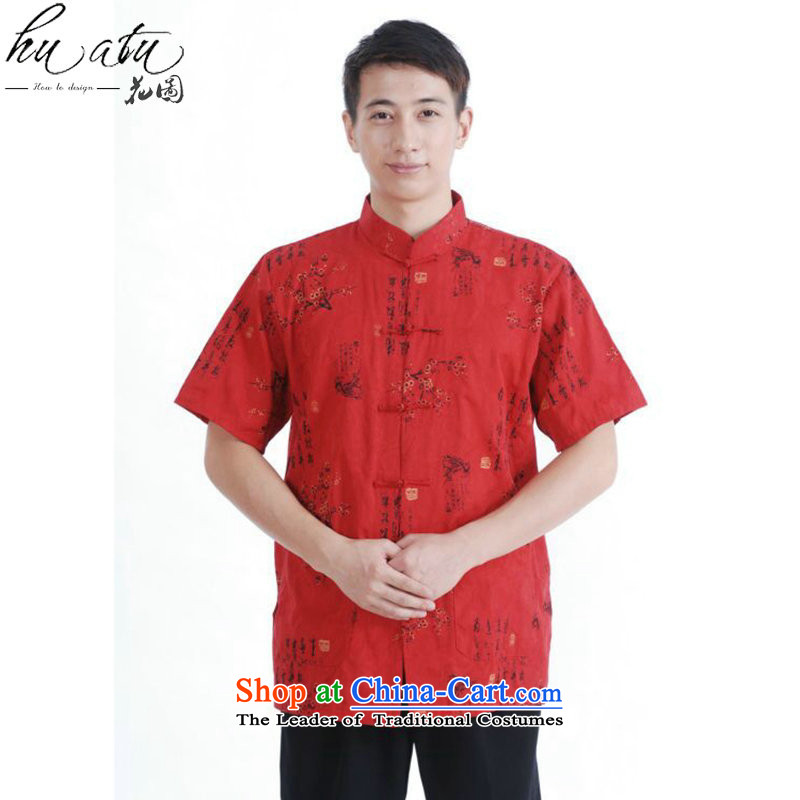 Figure for summer flowers new men's short-sleeved Tang Dynasty Chinese collar disc detained men's finest cotton men short-sleeved T-shirts燤0023 Tang Red燣
