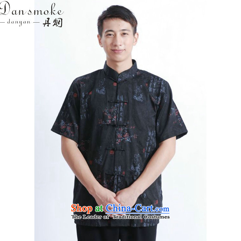 Dan smoke summer new men's short-sleeved Tang Dynasty Chinese collar disc detained men's finest cotton men short-sleeved T-shirts?M0022 Tang black?L