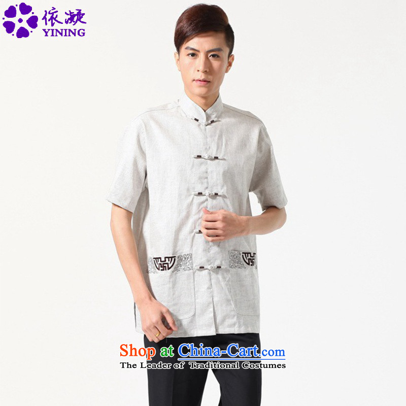 In accordance with the fuser for summer stylish new men Tang Gown cheongsam collar double pocketed the father's replace Tang dynasty short-sleeved T-shirt?Lgd_m0051_ -A gray?M
