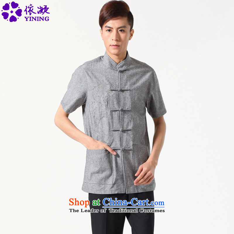 In accordance with the stylish new fuser summer Men's Mock-Neck Shirt Tang dynasty straight up dragon design embroidered with Father Tang dynasty short-sleeved T-shirt?LGD/M0052#?carbon?2XL