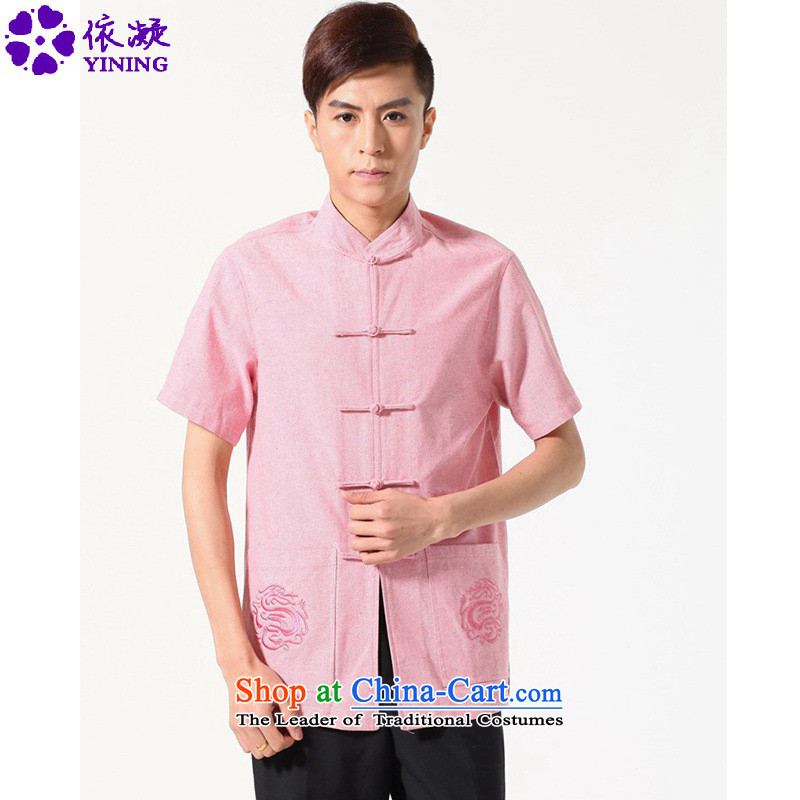In accordance with the fuser for summer new Chinese Daily Tang dynasty Classic tray snap stylish shirt father Tang dynasty replace short-sleeved T-shirt�LGD/M0053#�picture color�L