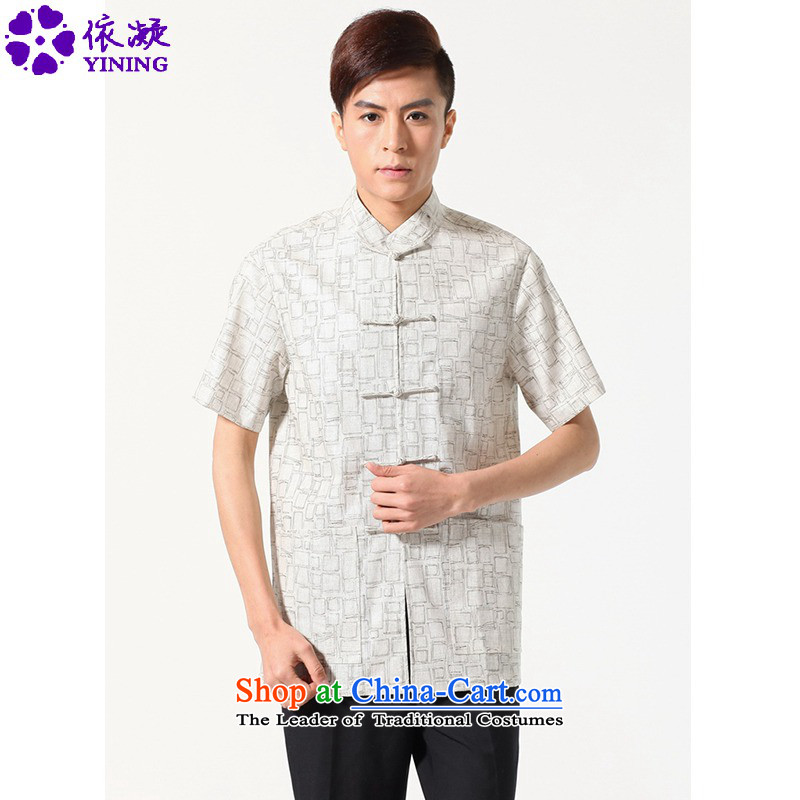 In accordance with the fuser for summer new men of ethnic Chinese Tang dynasty improved disk detained dad qipao classical replacing Tang dynasty?LGD_M0054_ short-sleeved T-shirt,?beige?L