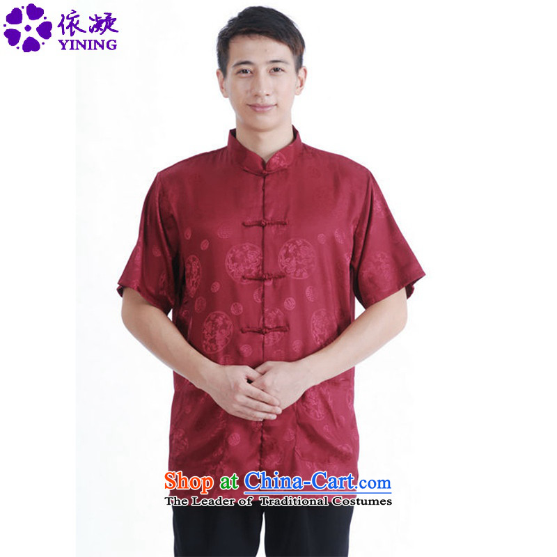 In accordance with the fuser for summer new men of nostalgia for the sheikhs Tang dynasty Classic shirt wind up my father Tang dynasty load detained short-sleeved T-shirt聽LGD_M2065_聽figure聽L