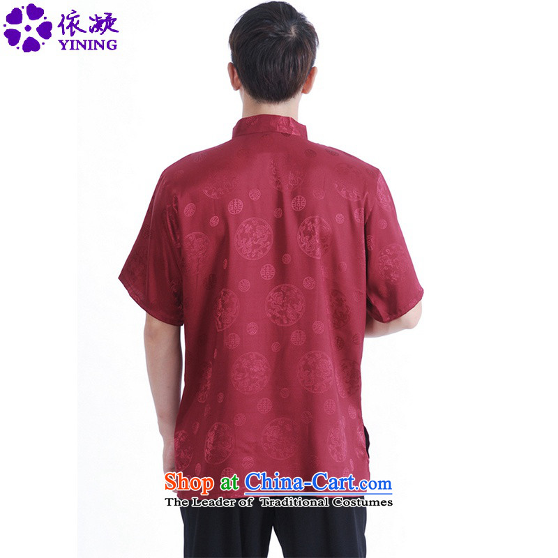 In accordance with the fuser for summer new men of nostalgia for the sheikhs Tang dynasty Classic shirt wind up my father Tang dynasty load detained short-sleeved T-shirt聽聽, L, in accordance with Figure LGD/M2065# fuser , , , shopping on the Internet