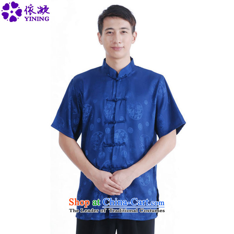 In accordance with the new fuser men daily Chinese Tang dynasty improved cheongsam collar single row detained on short-sleeved blouses?Lgd/m2066# Tang's?blue?L