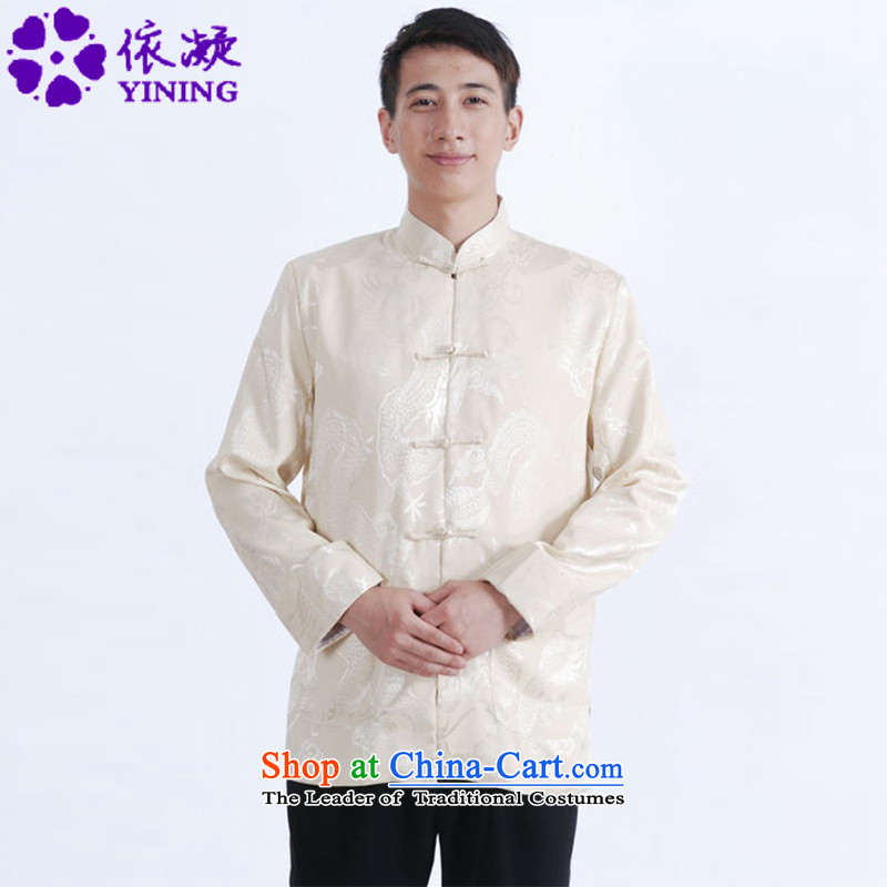 In accordance with the new spring and autumn gel men long-sleeved Tang dynasty qipao stylish jacquard single row detained father replacing Tang jackets?LGD/M1144#?figure?M