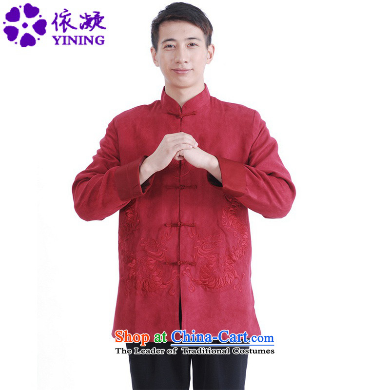 In accordance with the new spring and autumn gel men daily Chinese Tang dynasty improved cheongsam collar double dragon embroidered with Father Tang jackets?Lgd/m1147#??2XL Magenta