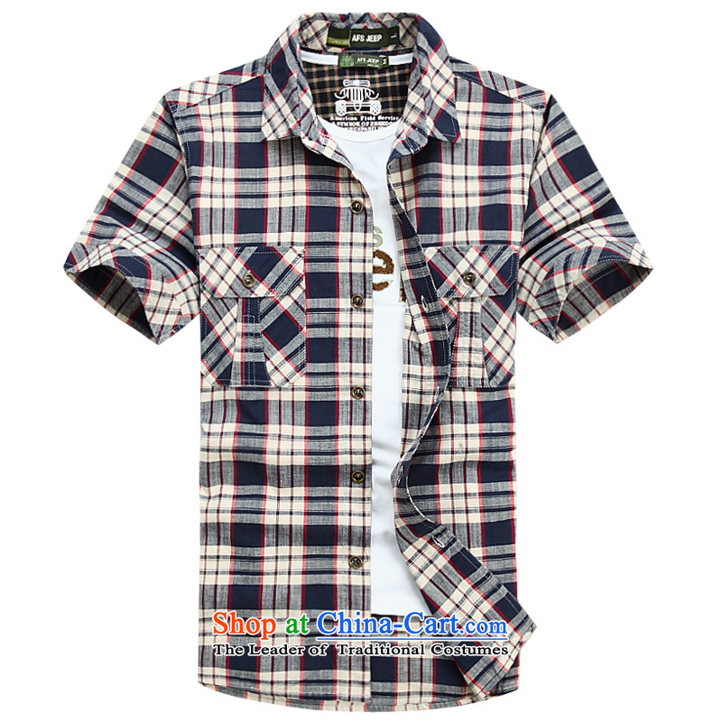 The new 2015 Shield Roma men lapel summer leisure washable shirt D6821 blue聽4XL