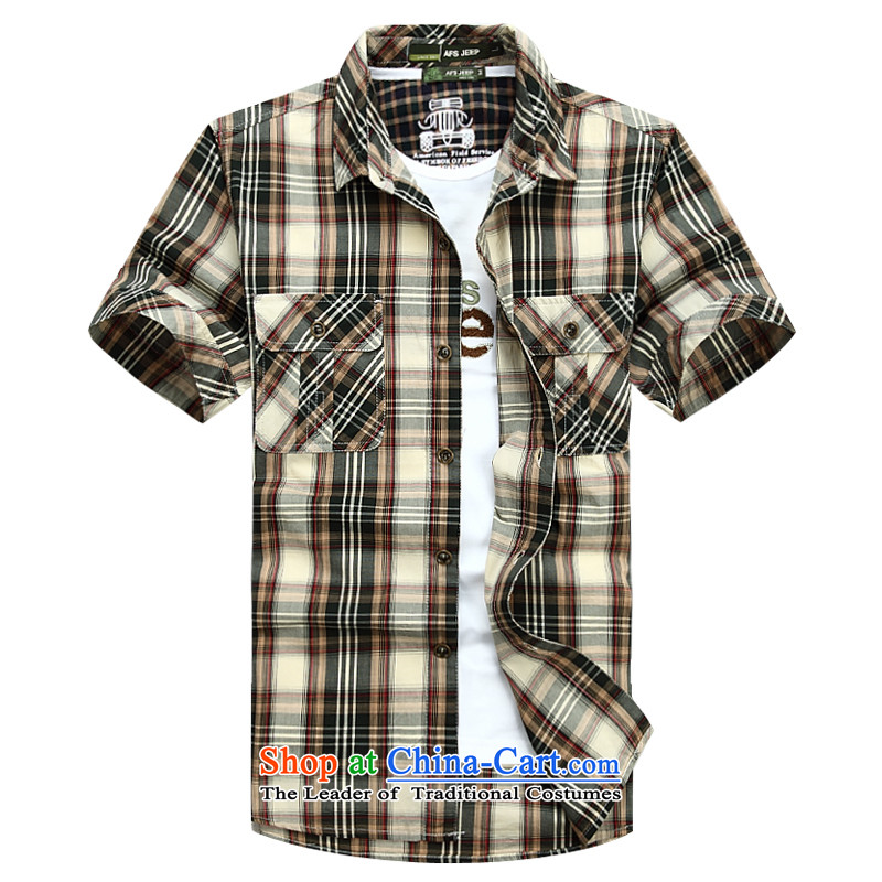 The new 2015 Shield Roma men lapel summer leisure washable shirt D6822聽5XL green