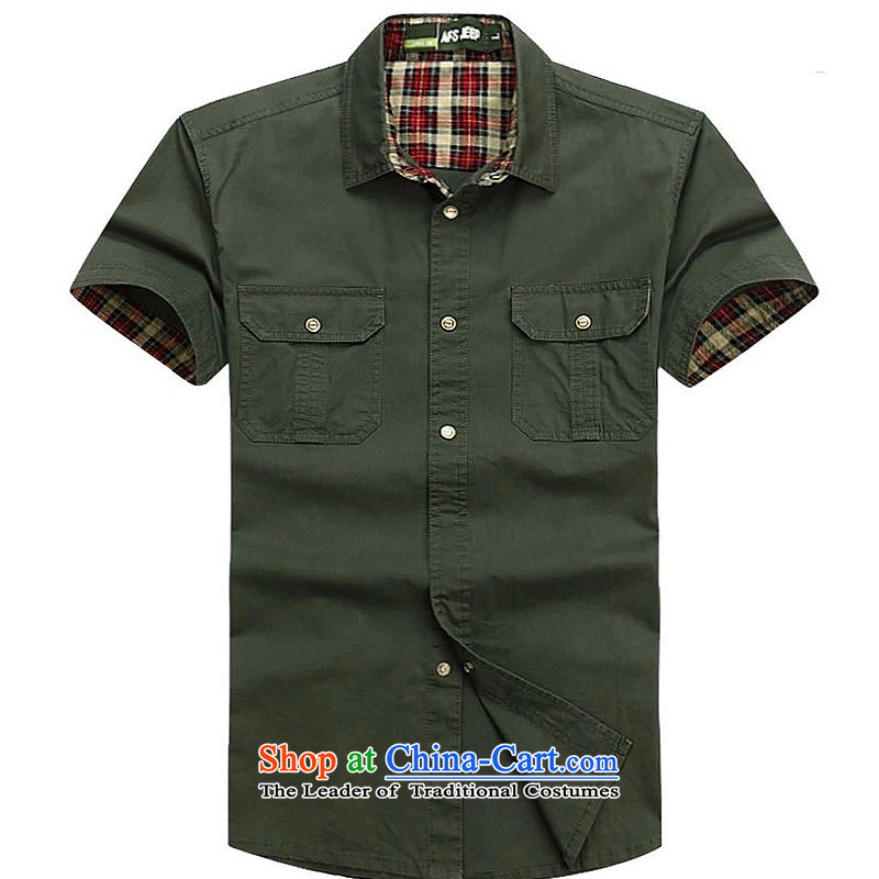 Jeep shield men pure cotton shirts and comfortable pure color snap short-sleeved shirt D6829 Army Green?XL