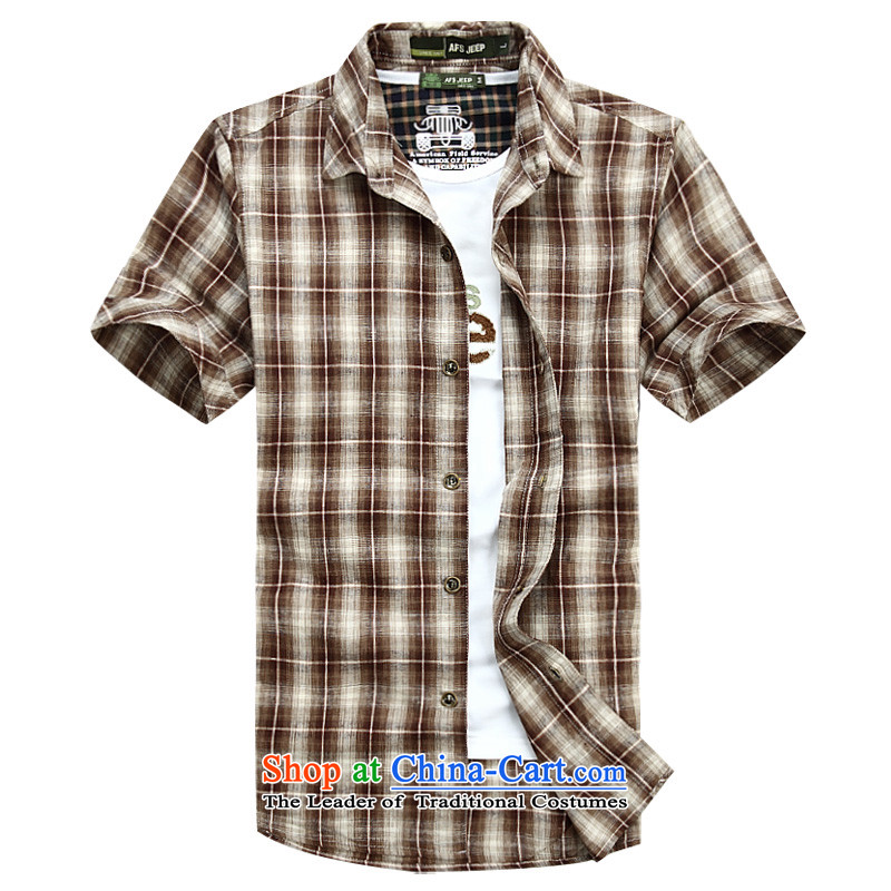 The new 2015 Shield Roma men lapel summer leisure washable shirt D6835 RED聽XXL