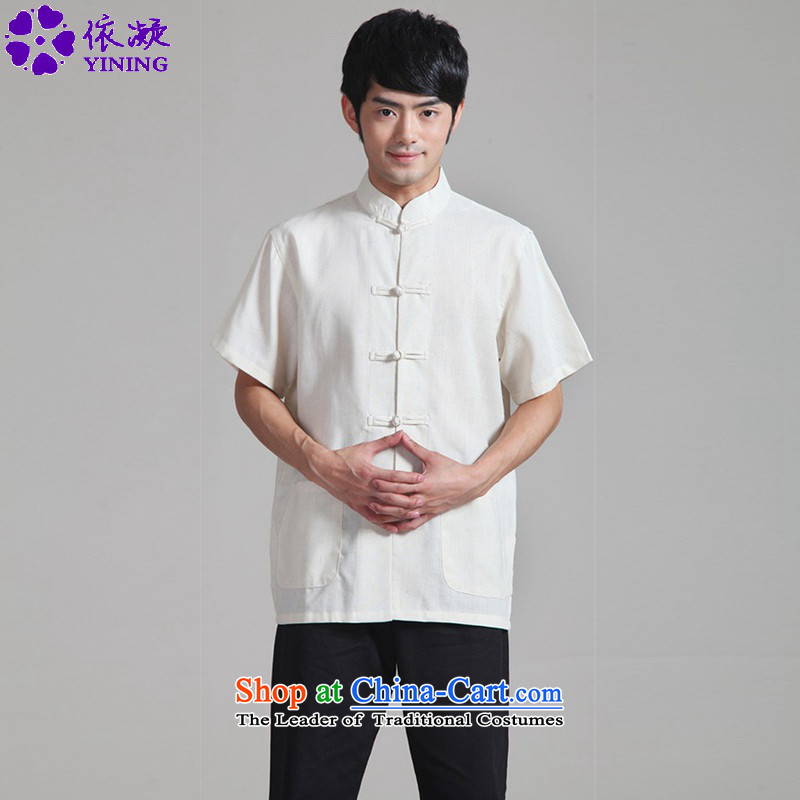 In accordance with the fuser for summer new ethnic Tang dynasty shirt collar pure color classical Disc Lock Tang Dynasty's short-sleeved T-shirt聽WNS_0820_ -1_ 3XL