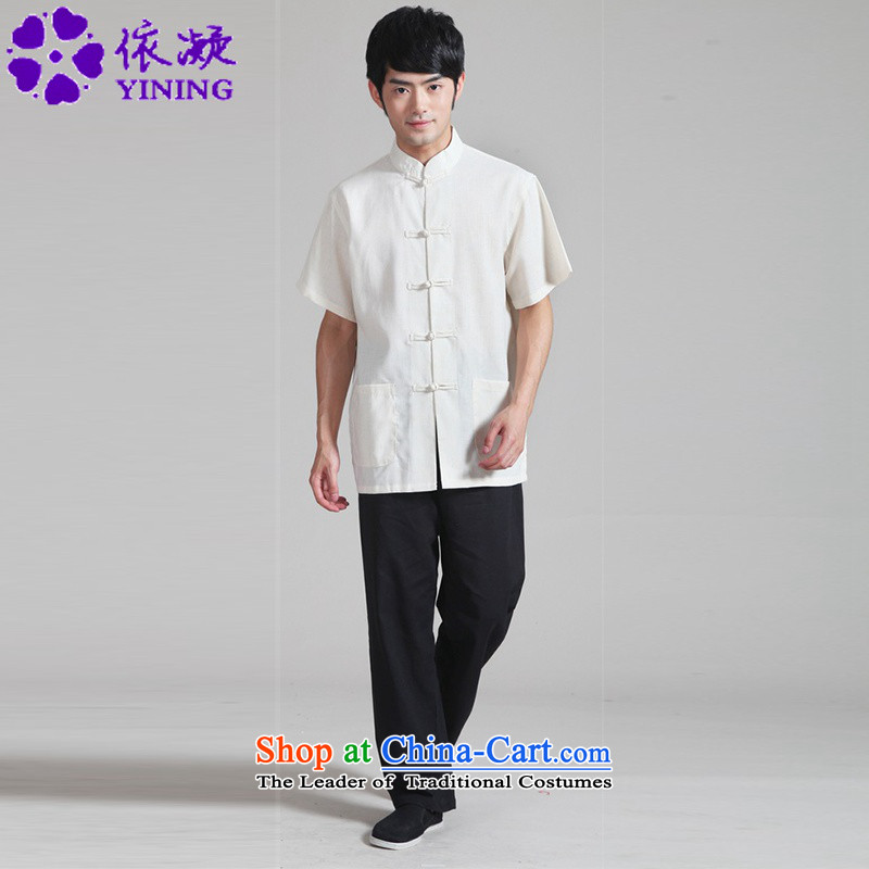 In accordance with the stylish new fuser summer Tang dynasty men casual shirt + pure color short-sleeved Tang Dynasty Package燱NS_0820_ -4_ 3XL
