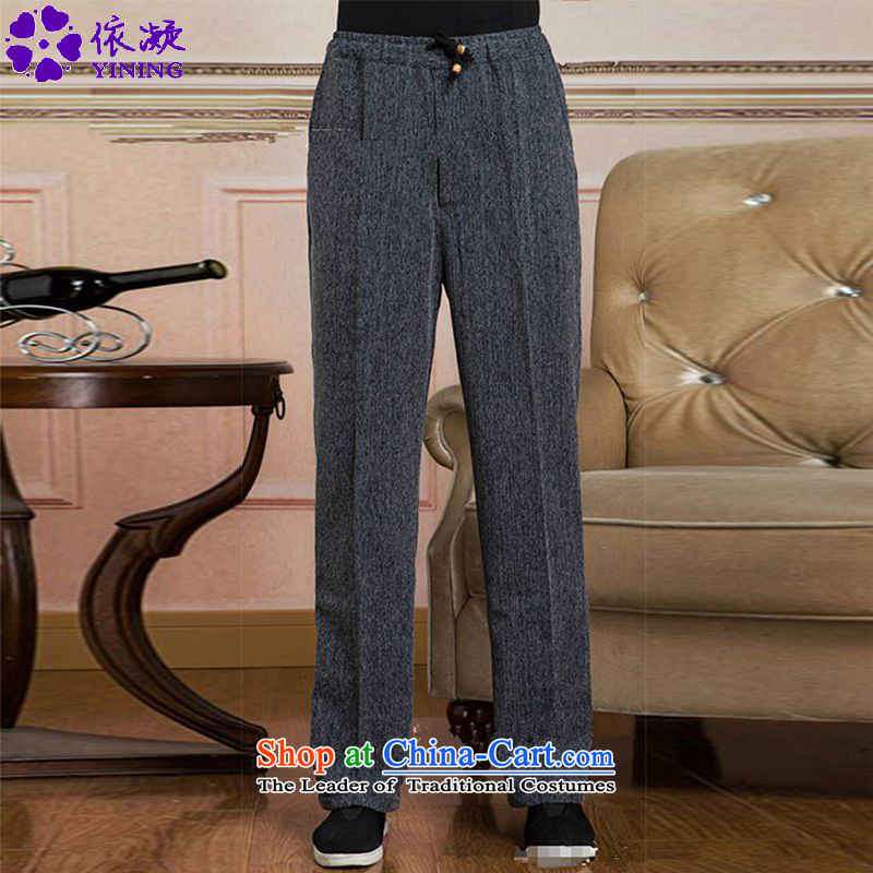 In accordance with the new fuser men Tang pants elastic waist pure color tie band father replacing Tang pants?WNS/2505# -5# XL