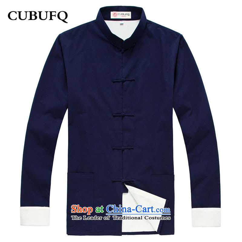 Pure Cotton Double Chinese cubufq Tang replacing men disc Tang dynasty China wind detained men long-sleeved sweater spring and ball-han-dark blue聽180_42 services