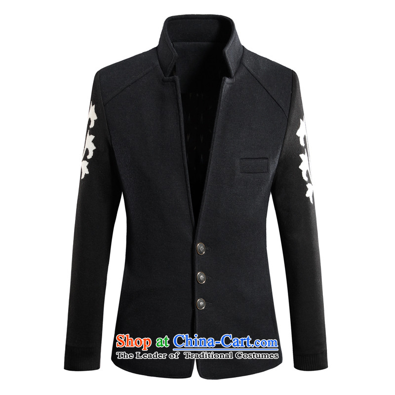 The new trend of cheaters Men's Mock-Neck Large to increase gross for suits 556 Zhongshan? Black?XL