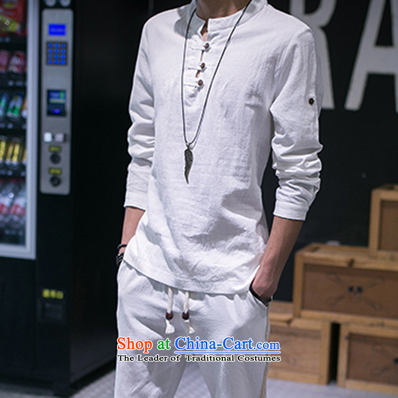 Eslite autumn linen shirt, male, linen collar cotton linen long-sleeved shirt leisure pure color kit 8032 White?XL