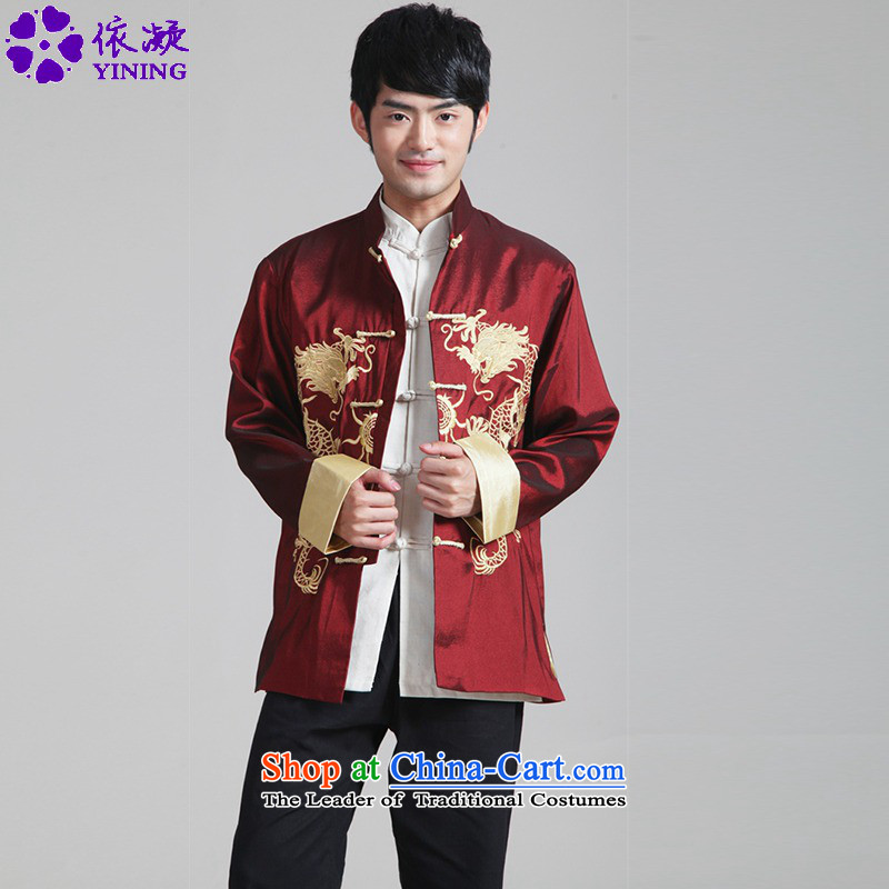 In accordance with the new fuser men retro sheikhs wind daily Tang dynasty qipao gown direct collar double dragon embroidered with Father Tang jackets�WNS/2283# -3# XL