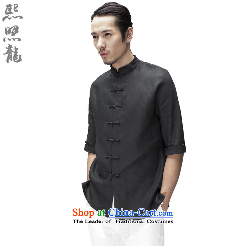 Hee-Snapshot Loaded male summer Tang Lung short-sleeved Chinese shirt collar plain linen china wind men wearing black comedies men燬