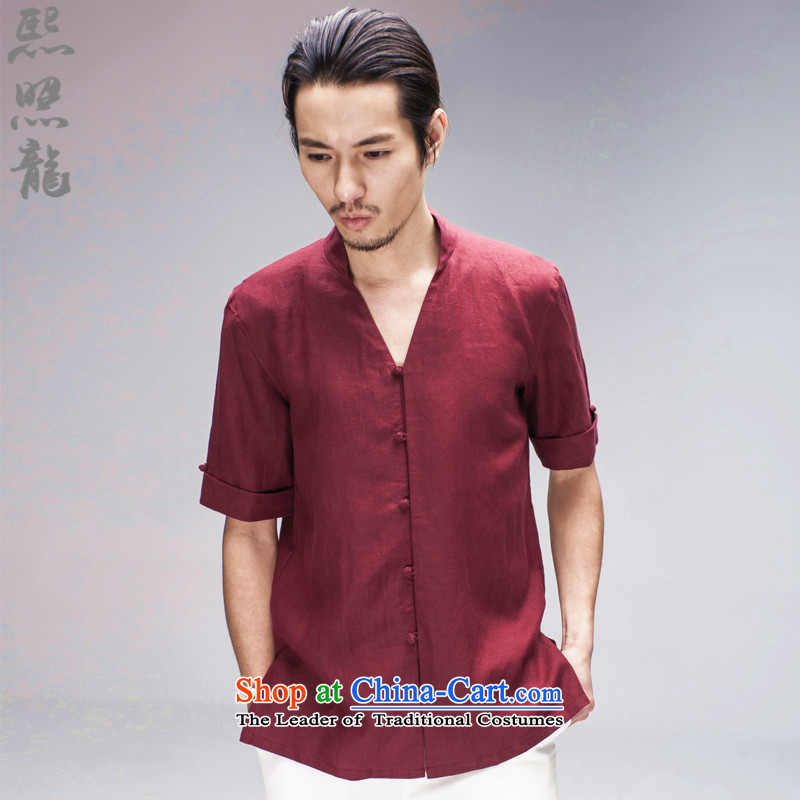 Hee-Snapshot Lung New China wind men's shirts and flax short-sleeved Ronald Tang Dynasty Chinese national ball-dress shirt wine red S