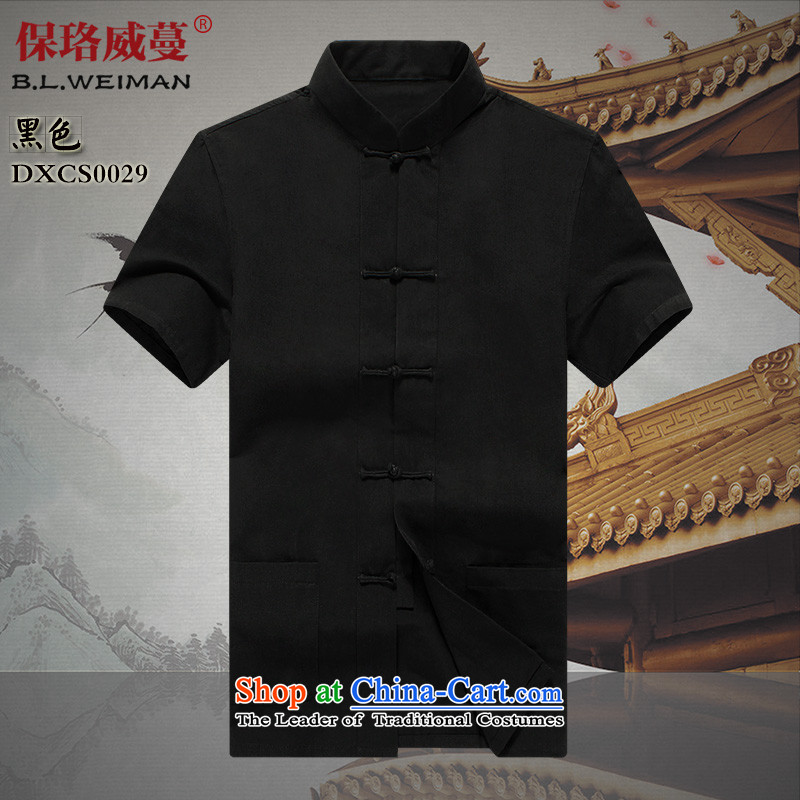 The Lhoba nationality Wei Mephidross warranty pure cotton muslin old China wind men loaded short-sleeved shirt Tang Tang service men and summer father lining clothes Black聽165