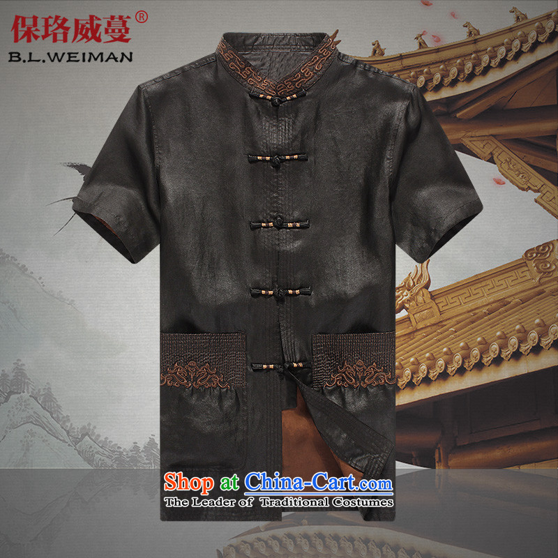 The Lhoba nationality Wei Overgrown Tomb summer warranty of older persons in the cloud of incense silk yarn men Tang dynasty male short-sleeved shirt grandpa summer blouses Black?185