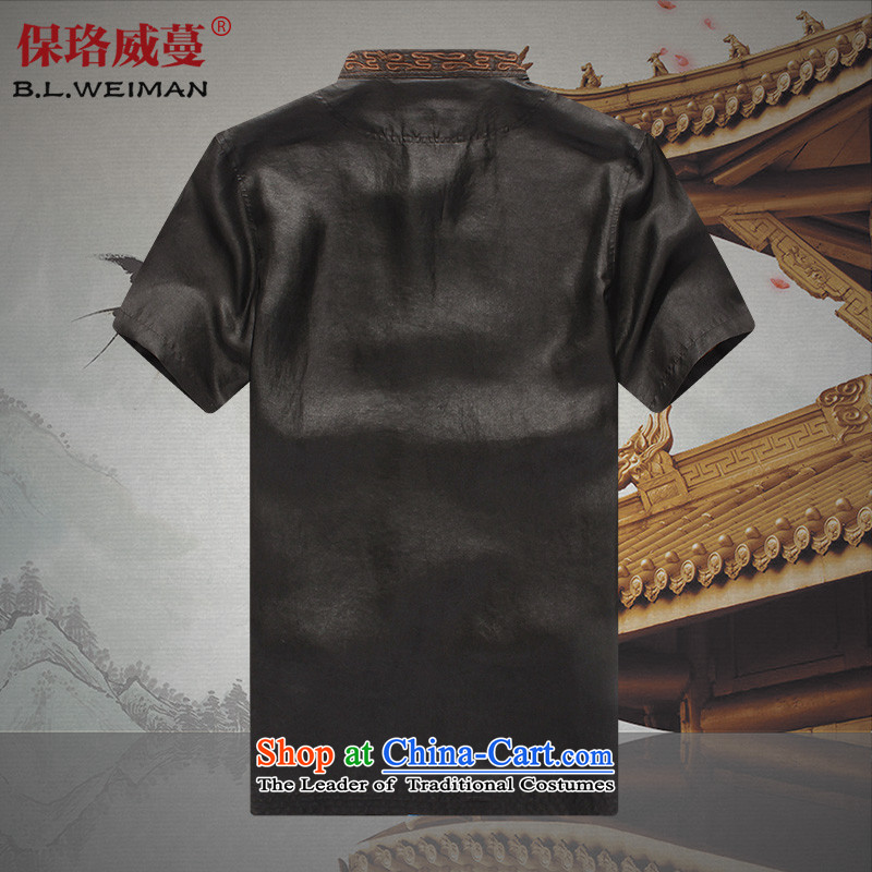 The Lhoba nationality Wei Overgrown Tomb summer warranty of older persons in the cloud of incense silk yarn men Tang dynasty male short-sleeved shirt grandpa summer blouses black聽185, Warranty, Judy Wai (B.L.WEIMAN Overgrown Tomb) , , , shopping on the In