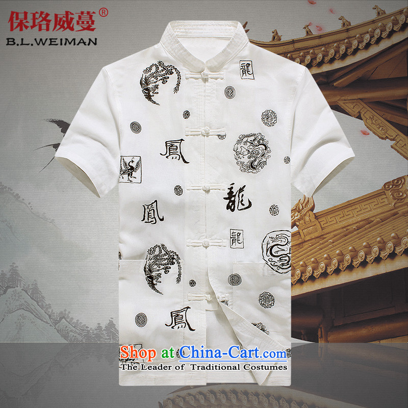 The Lhoba nationality Wei Overgrown Tomb summer post new men's short-sleeved in Tang Dynasty Older ethnic men wear shirts father white shirt?185