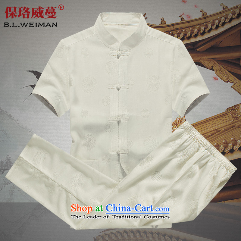 The Lhoba nationality Wei Mephidross UNPROFOR men Tang Dynasty Package summer cotton linen tunic men short-sleeved breathability and comfort casual Package Mail White聽170