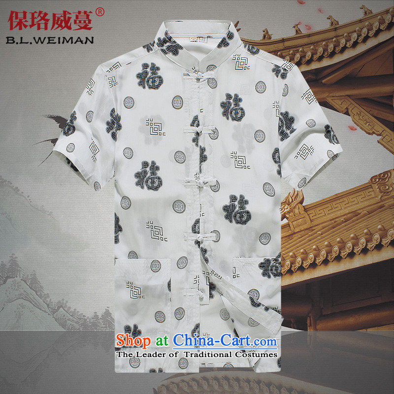 The Lhoba nationality Wei Mephidross Warranty China wind men short-sleeved shirt Tang Dynasty Cotton Men thin layer shirt with white father?175