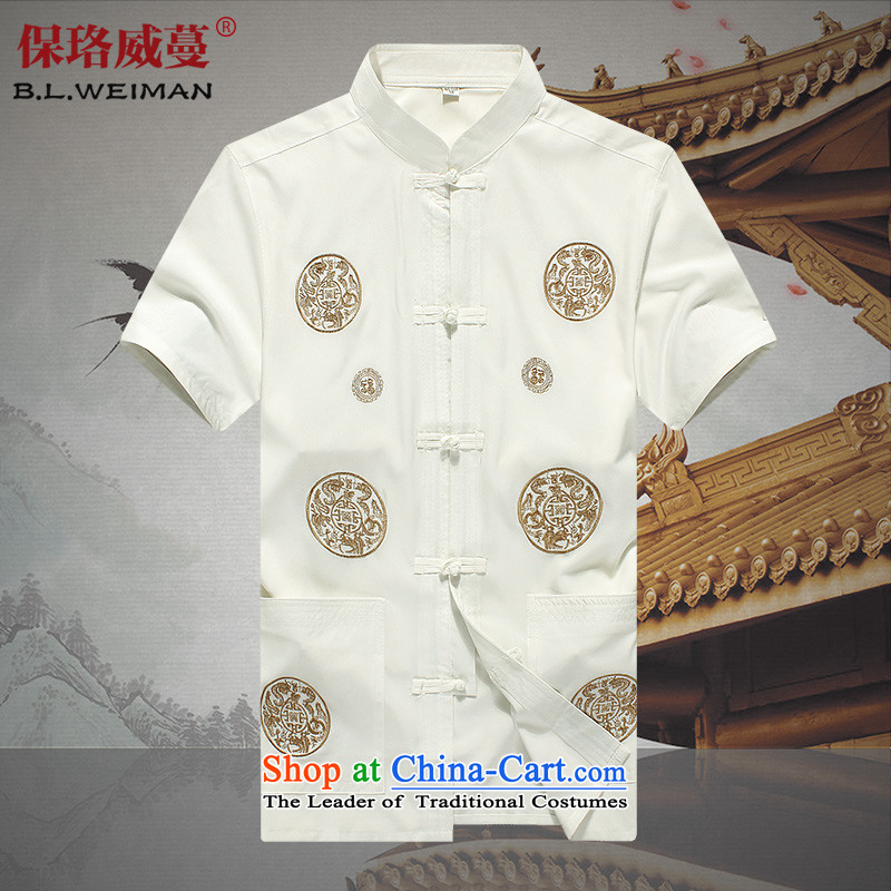 The Lhoba nationality Wei Mephidross Warranty Won-yong men short-sleeved Tang dynasty pure cotton clothes summer comfort. Older Men's Shirt wicking White?180