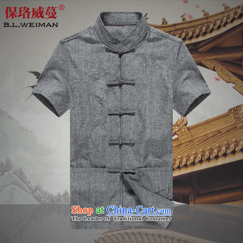 The Lhoba nationality Wei Overgrown Tomb summer warranty China wind linen short-sleeved Tang dynasty male and comfort and breathability cotton linen clothes men and sweat-wicking summer gray?180