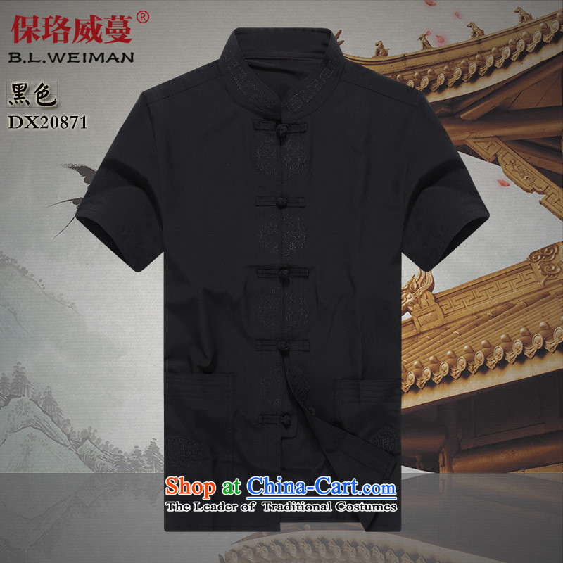The Lhoba nationality Wei Mephidross warranty 2015 new elderly summer short-sleeved Tang dynasty men's shirts cotton father blouses Package Mail Black聽190