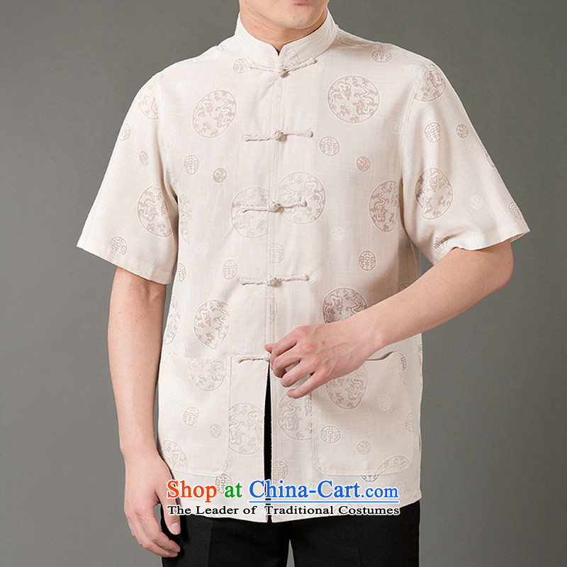 Boris poem federation short-sleeved Tang dynasty in Tang Dynasty elderly men by 2015 summer, emulation silk Tang blouses manually disc detained national costumes Chinese Tang dynasty collar XXL_180 Beige