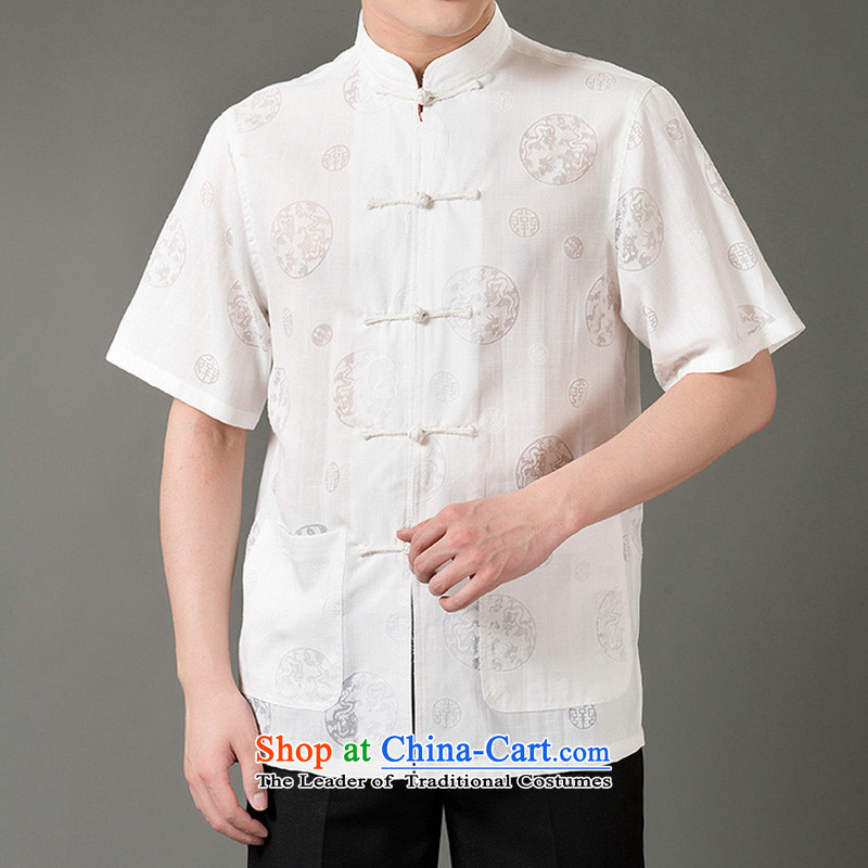 Boris poem federation short-sleeved Tang dynasty in Tang Dynasty elderly men by 2015 summer, emulation silk Tang blouses manually disc detained national costumes Chinese collar Tang Dynasty poem Bob XXL/180, beige Federation (lianbangbos) , , , shopping o