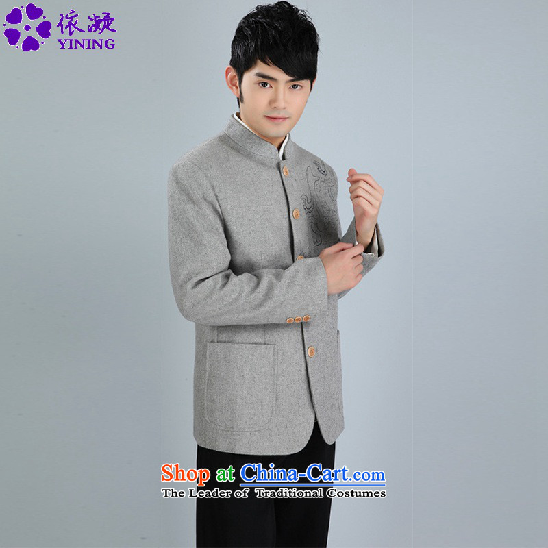 In accordance with the new stylish spring and autumn gel Men's Mock-Neck Chinese tunic suit dad single row clip loaded Tang jackets WNS/2353# -1# XL