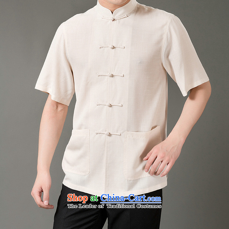 Boris poem federation short-sleeved Tang dynasty in Tang Dynasty elderly men聽by 2015 summer, emulation silk Tang blouses manually disc detained national costumes Chinese Tang dynasty collar聽XL_175 Beige